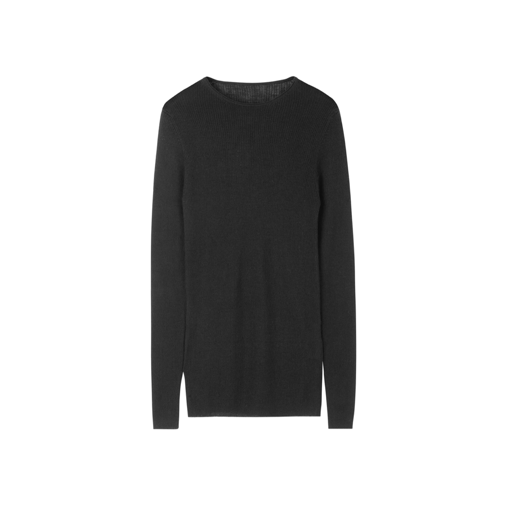 MADIGAN CASHMERE RIB BLOUSE BLACK
