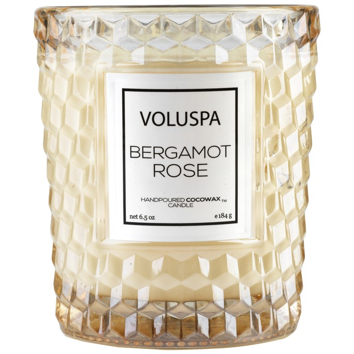 BERGAMOT ROSE CLASSIC TEXTURED GLASS CANDLE