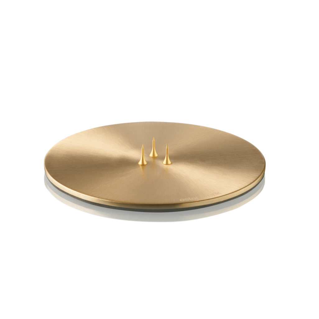 CANDLE PLATE BRUSHED GOLD