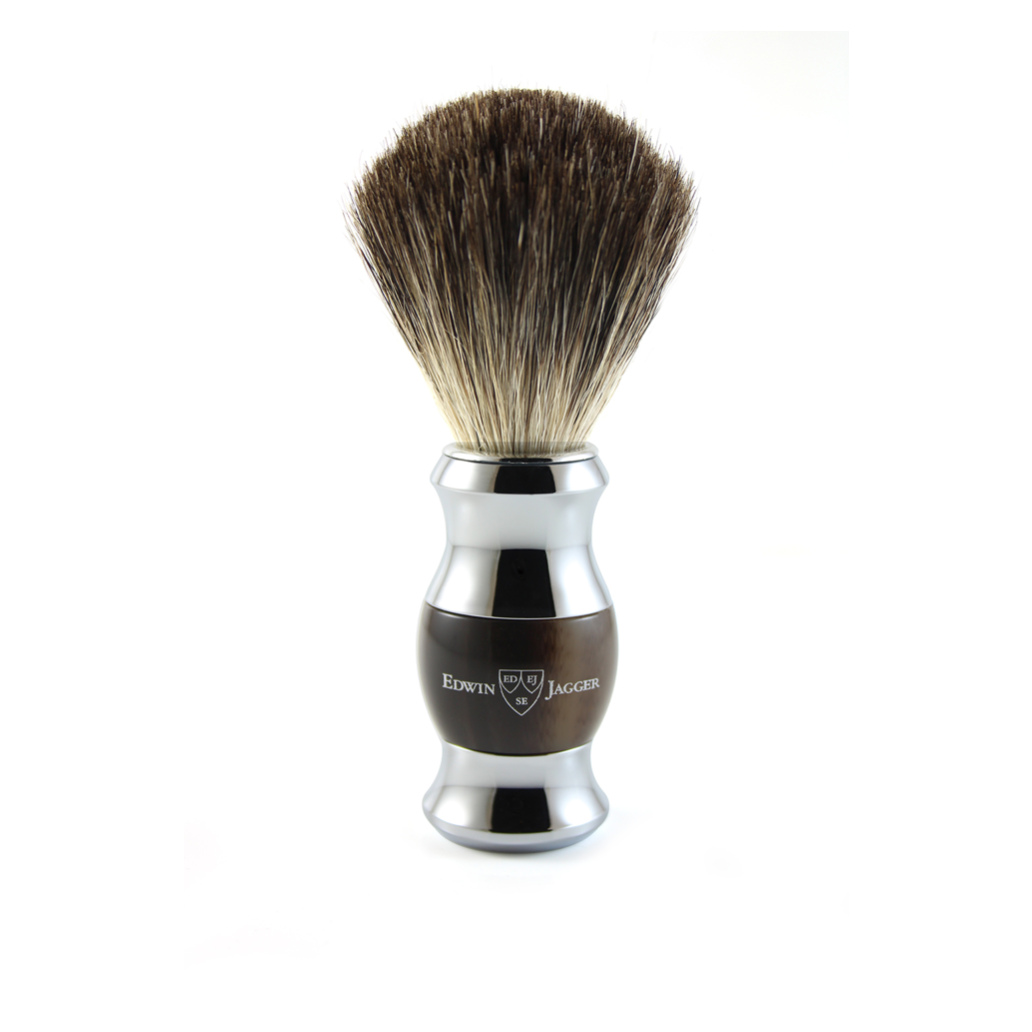SHAVING BRUSH IMITATION HORN & CHROME