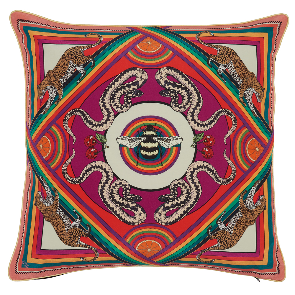 TRIPPY TOWN SILK CUSHION IN PINK