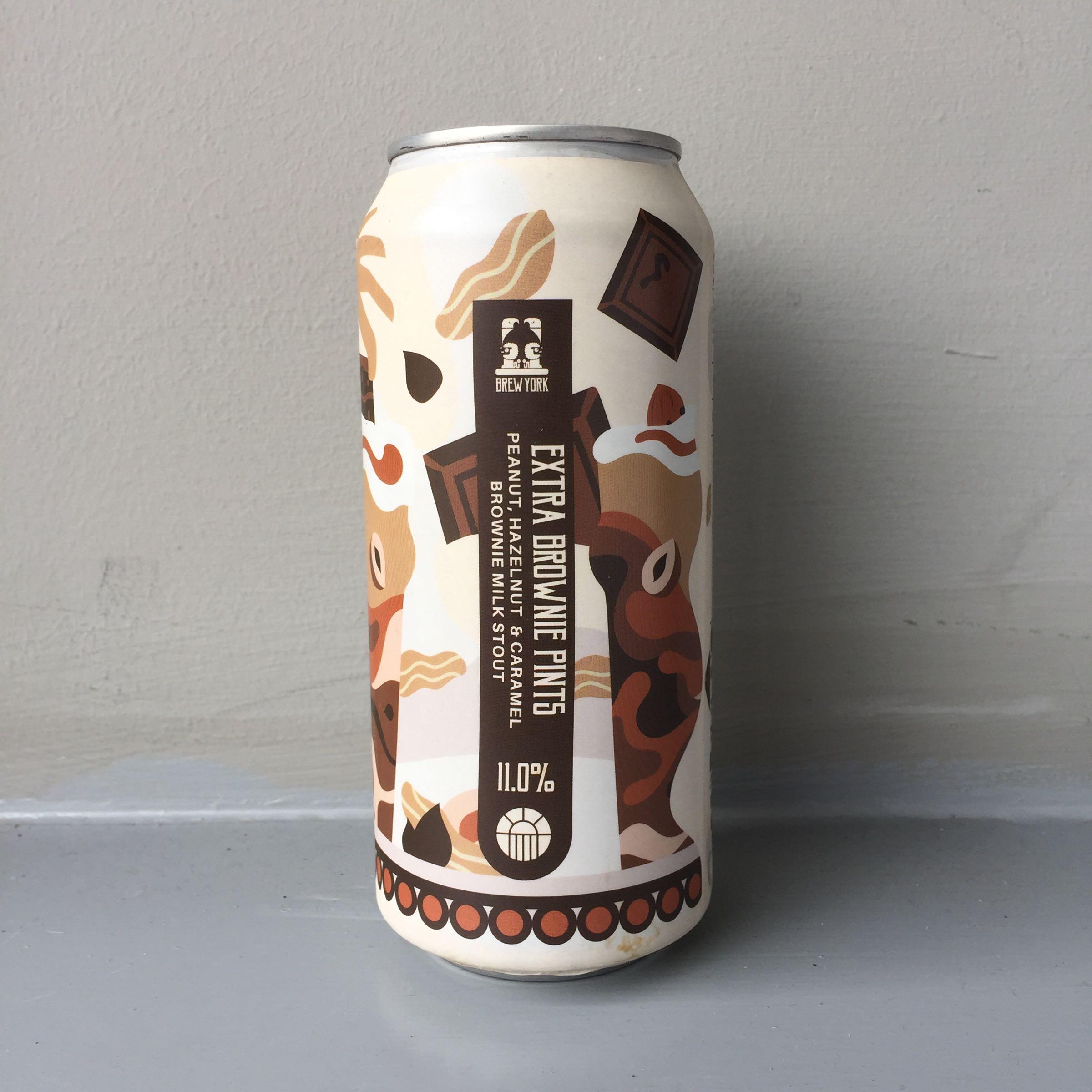 Brew York 'Extra Brownie Pints' Peanut Hazelnut & Caramel Brownie Milk Stout 440ml 11% ABV