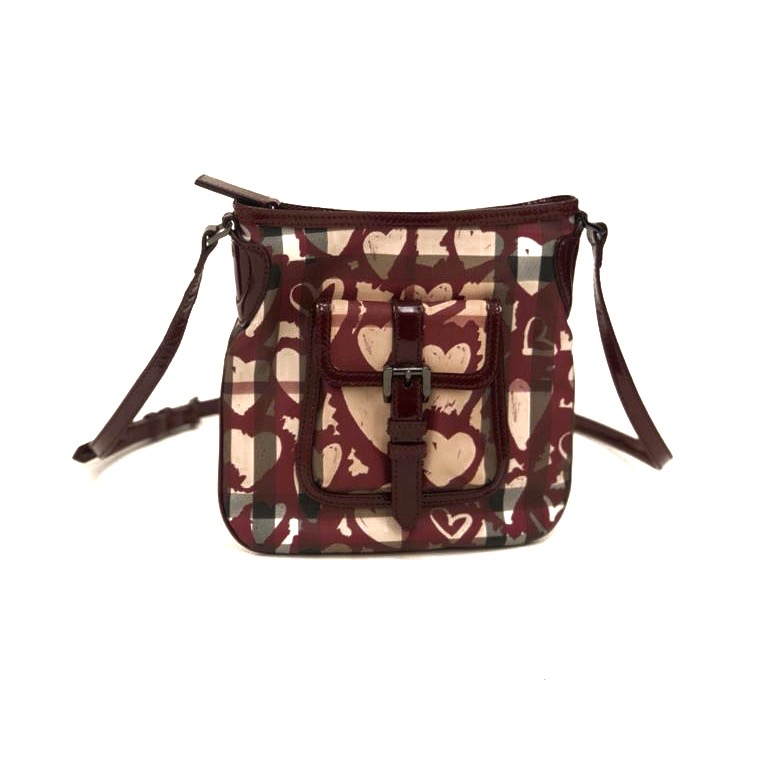 Burberry bordeau Nova check PVC heart crossbody väska SV5130