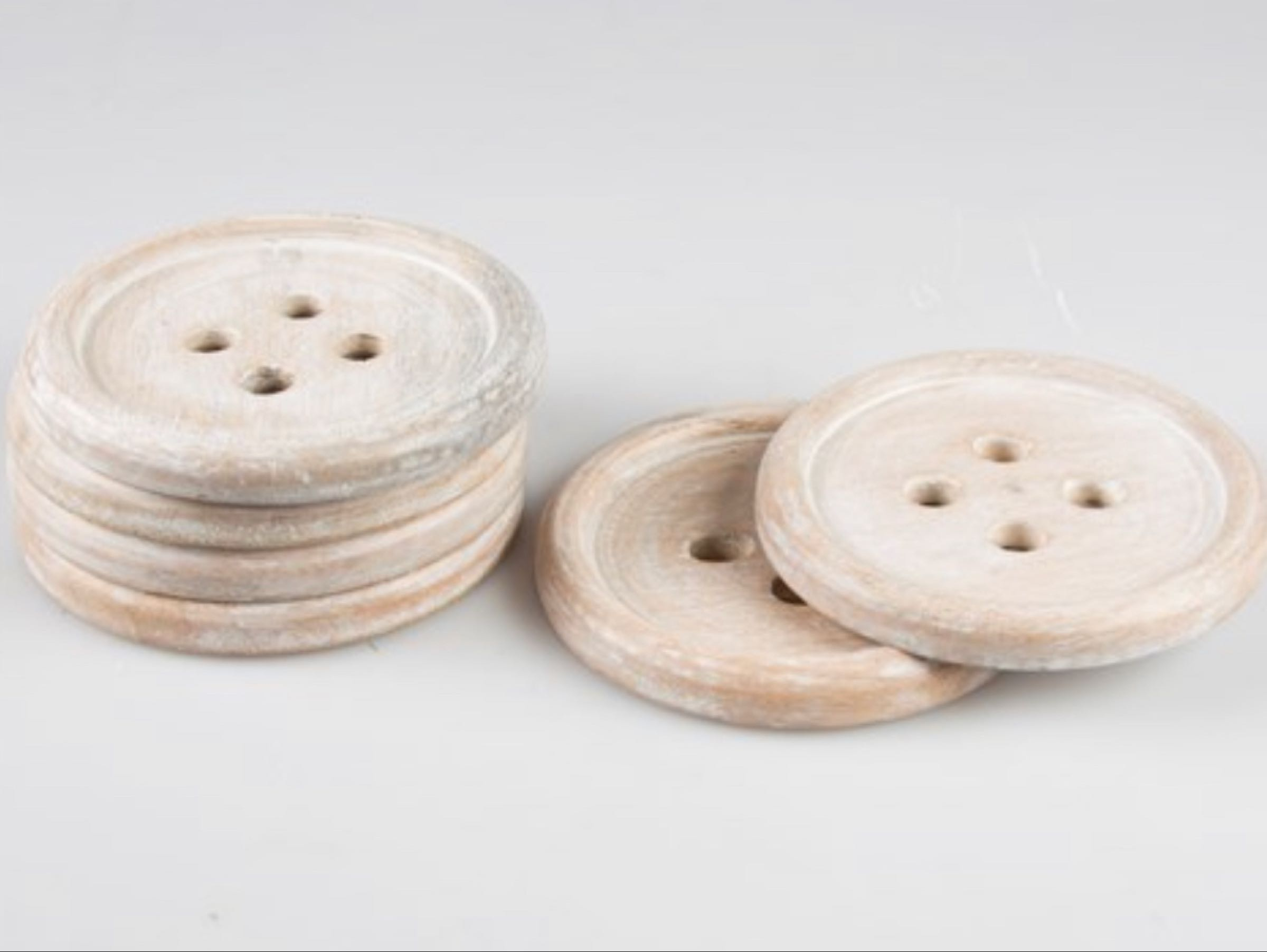 Set of 6 Wooden Button Coasters