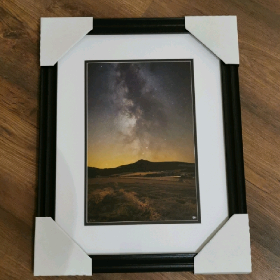 Harvest Skies over Bennachie, A4, signed, black