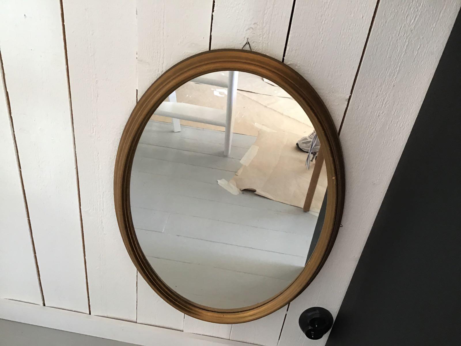 """Spegel oval  (second hand, vintage, retro) - OBS! Skickas ej - Se vidare """"Hämtas i butik"""" i huvudmenyn"""