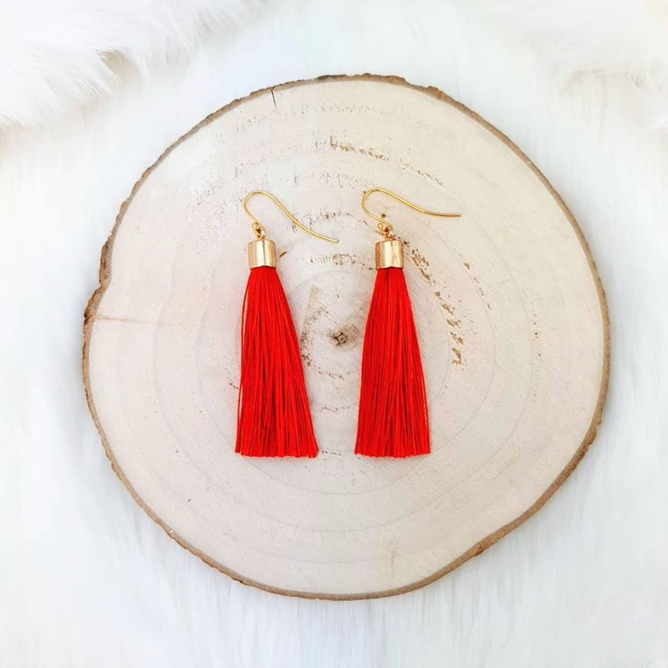 Rød tassel øredobber med øyekrok i forgylt sølv