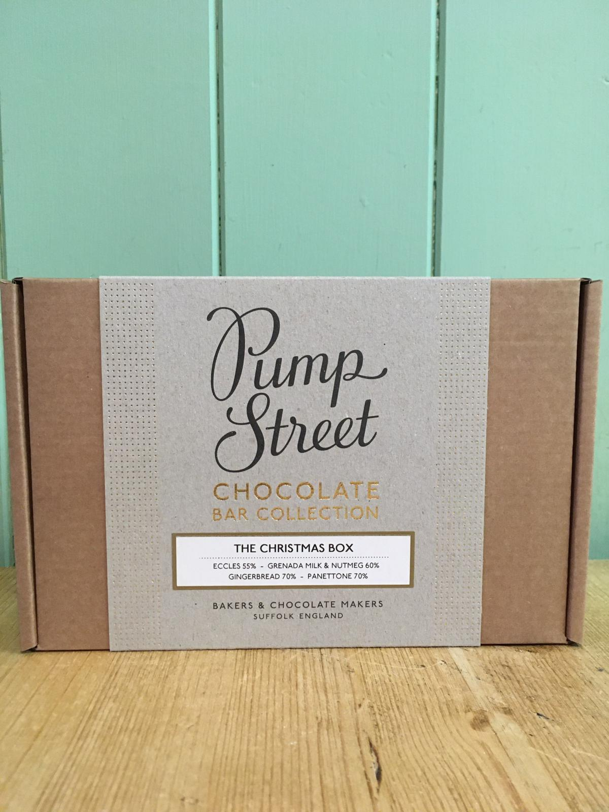 Pump Street Chocolate - The Christmas Box Chocolate Bar Collection (Eccles, Grenada Milk and Nutmeg, Gingerbread, Panettone) 4 x 70g