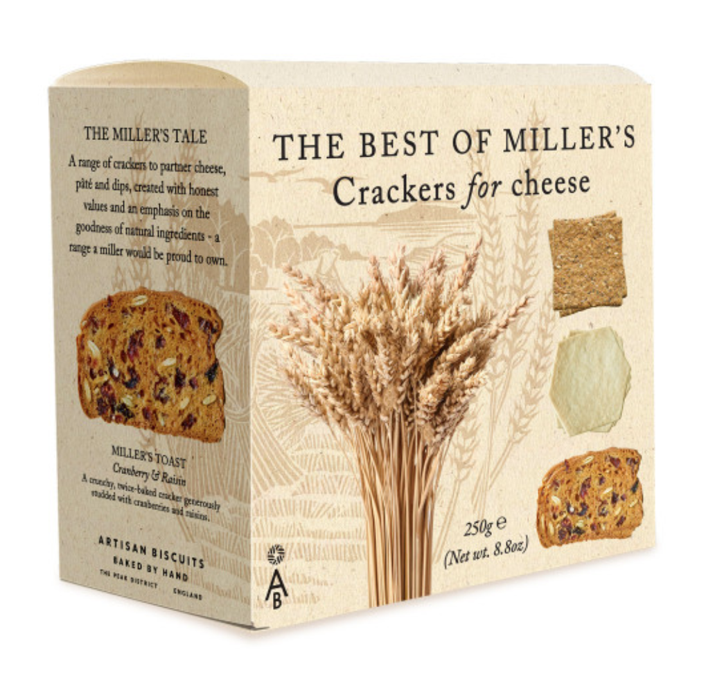 Miller's - The Best of Miller's Crackers for Cheese (Cranberry and Raisin Toasts, Three Seed Crackers and Miller's Damsels Buttermilk crackers) 250g