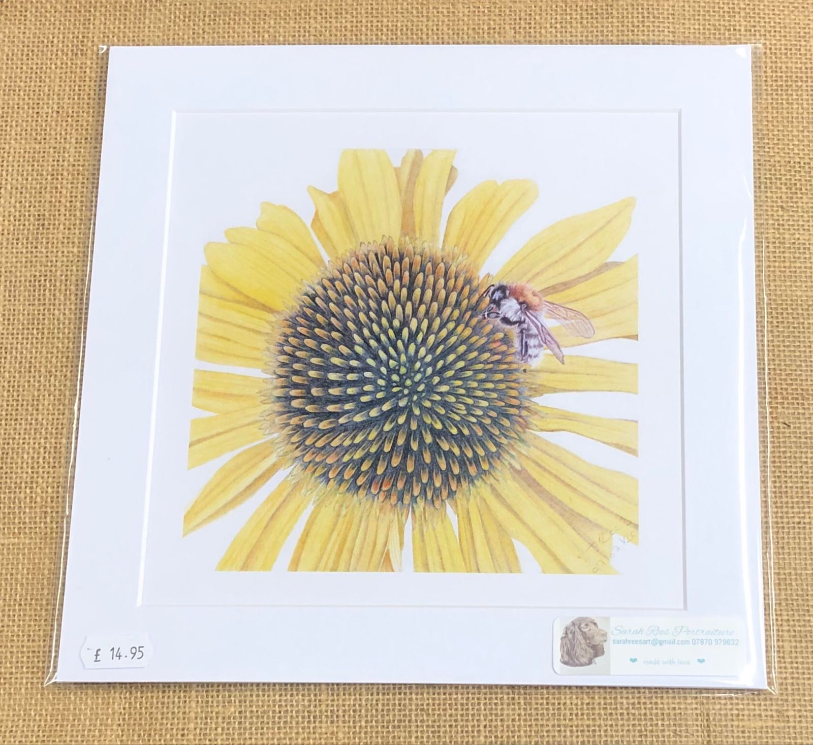 Bee on sunflower print