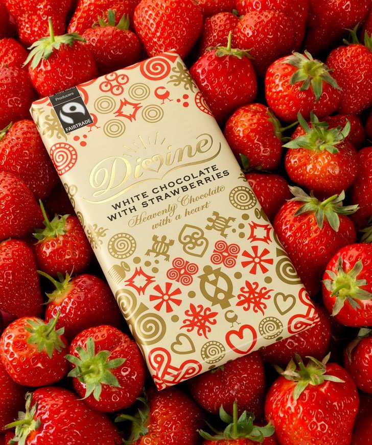 Divine White Chocolate with Strawberries, 90g