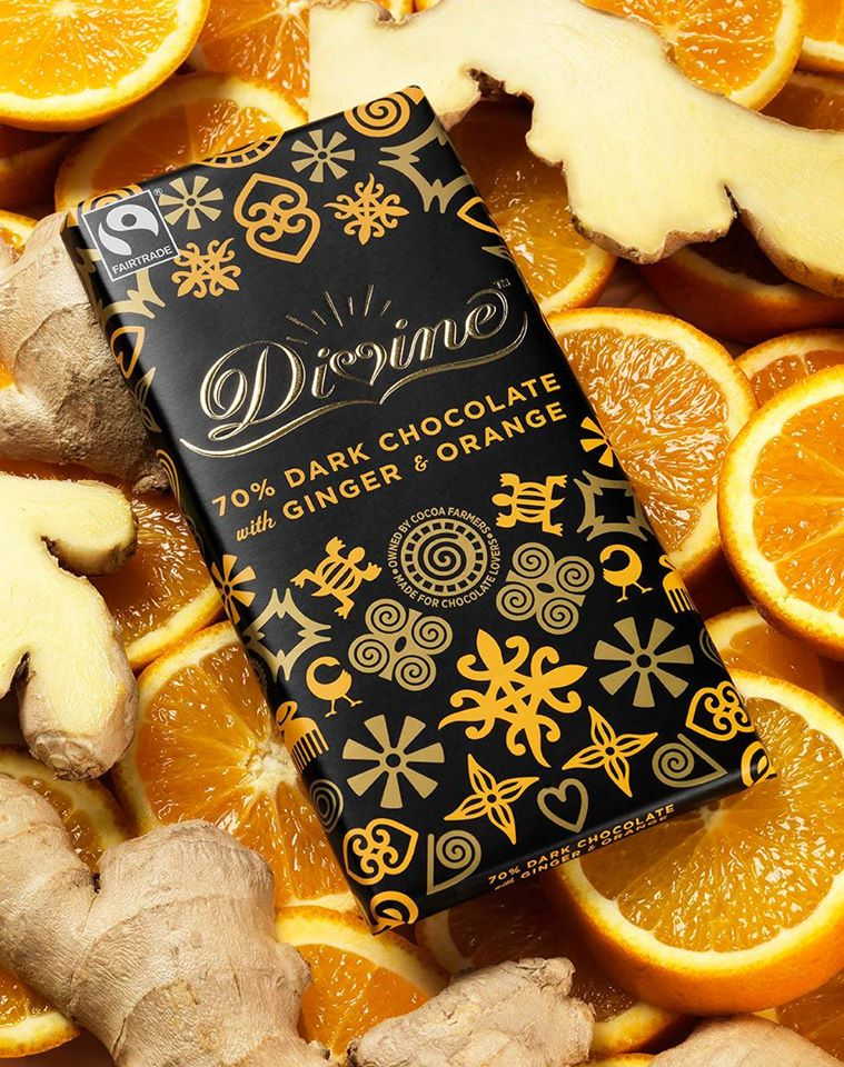 Divine Dark Chocolate with Ginger & Orange, 90g