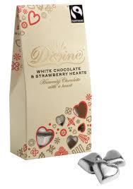 Hjerter, hvit sjokolade med jordbær, 80g