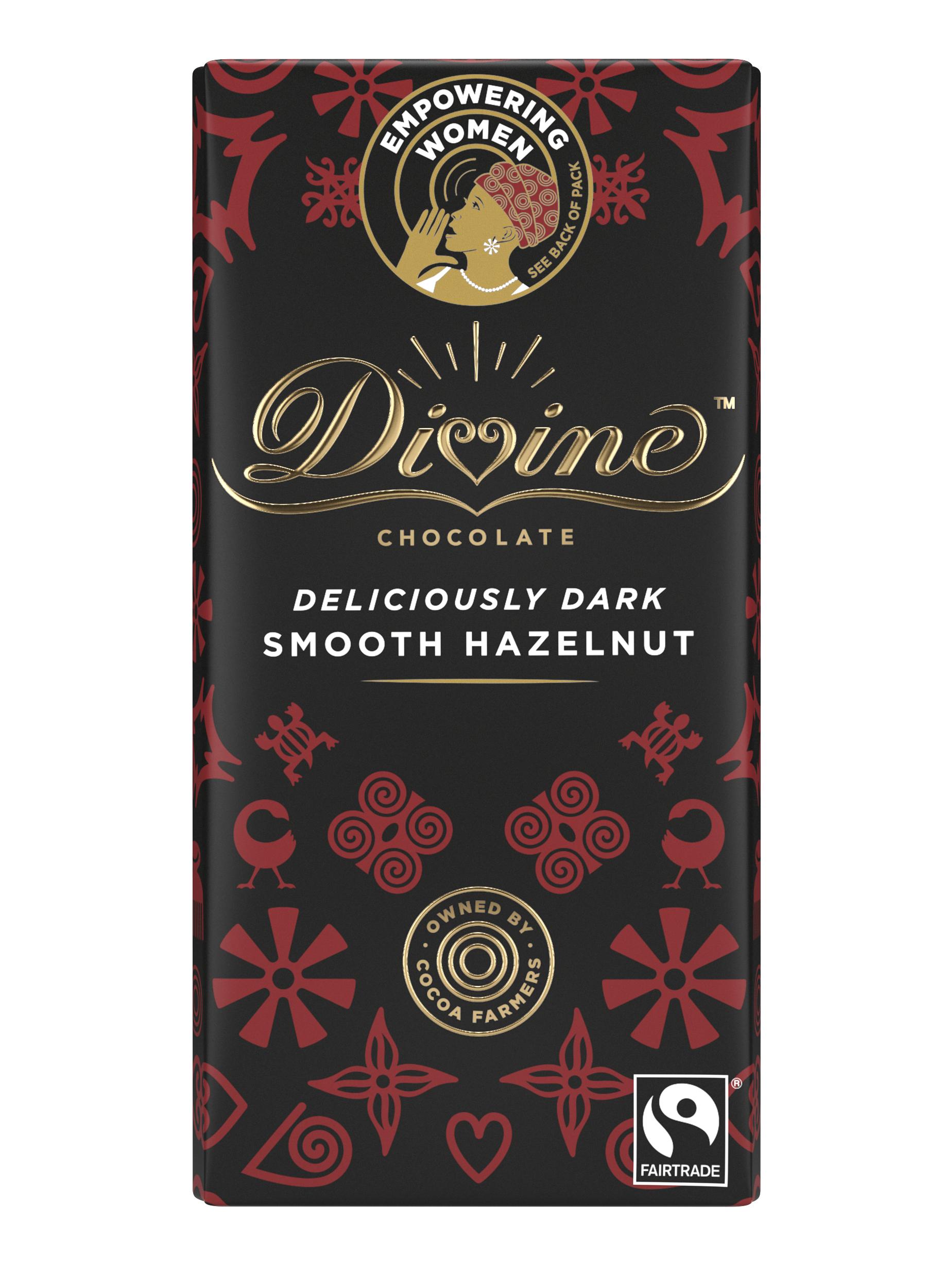 Divine Dark Chocolate with Hazelnut Truffle, 90g