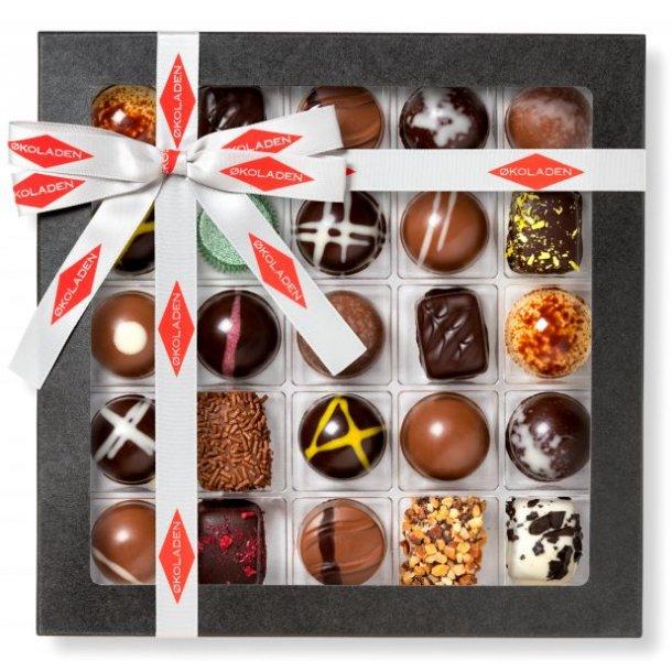 Fyldte økologiske chokolader, 25 stk., 250 g. Fra Økoladen