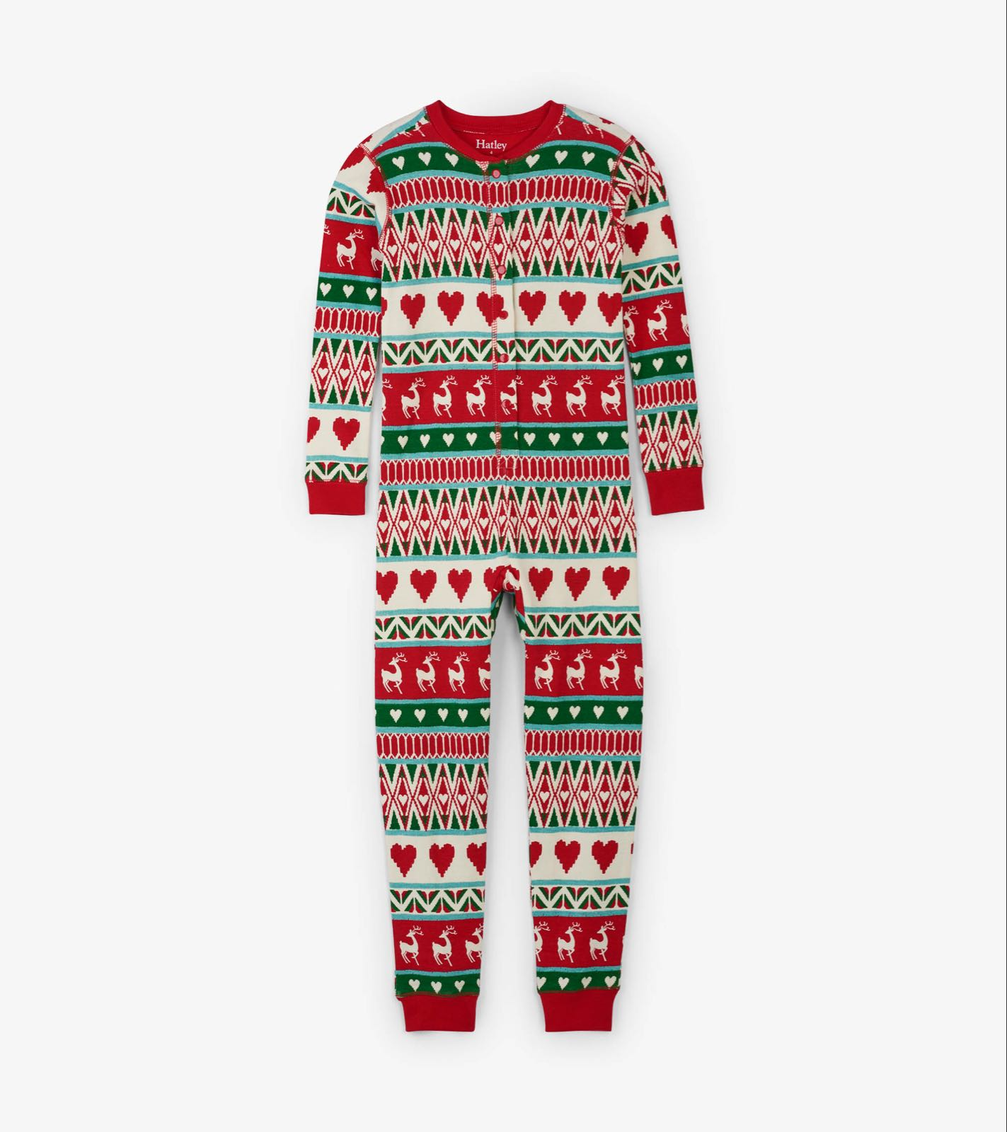 Hatley Mistletoe Deer Fair Isle Organic Cotton Onesies