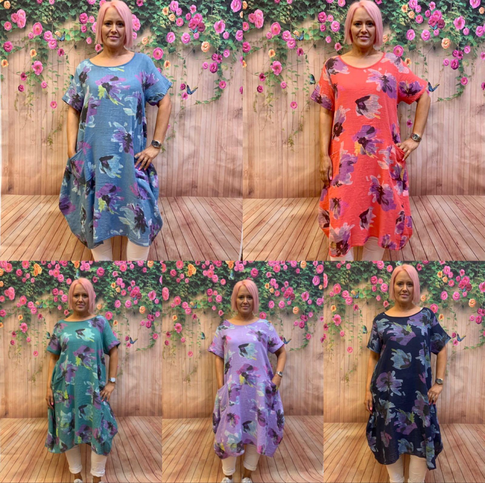 Lightweight Linen Flower Pattern Dress