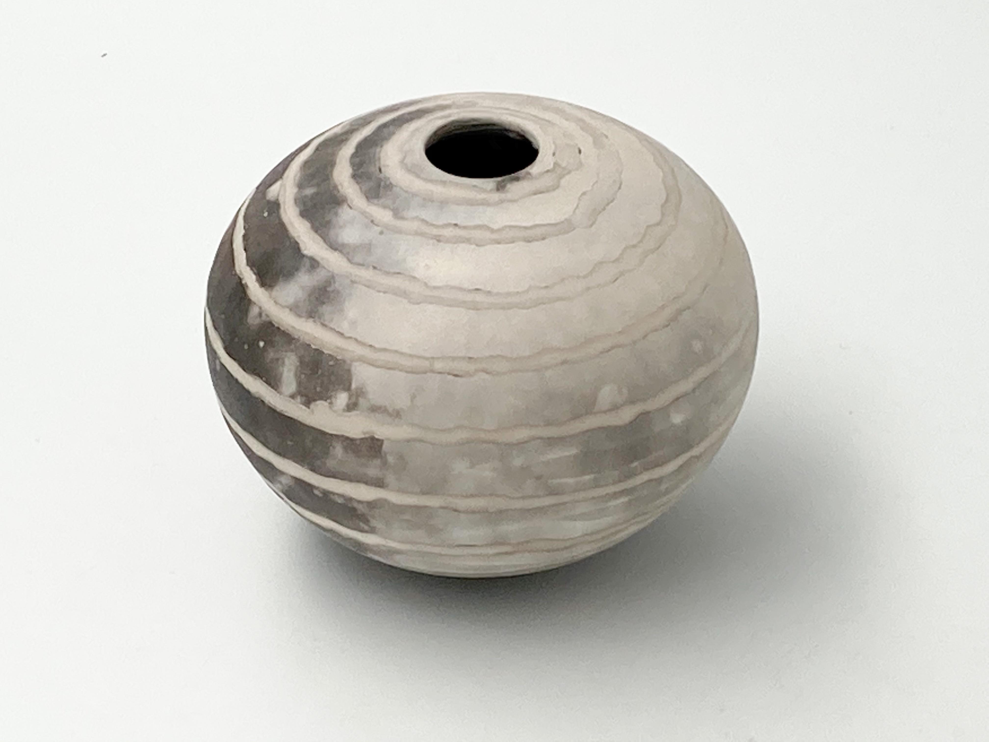 striped smoke fired pot