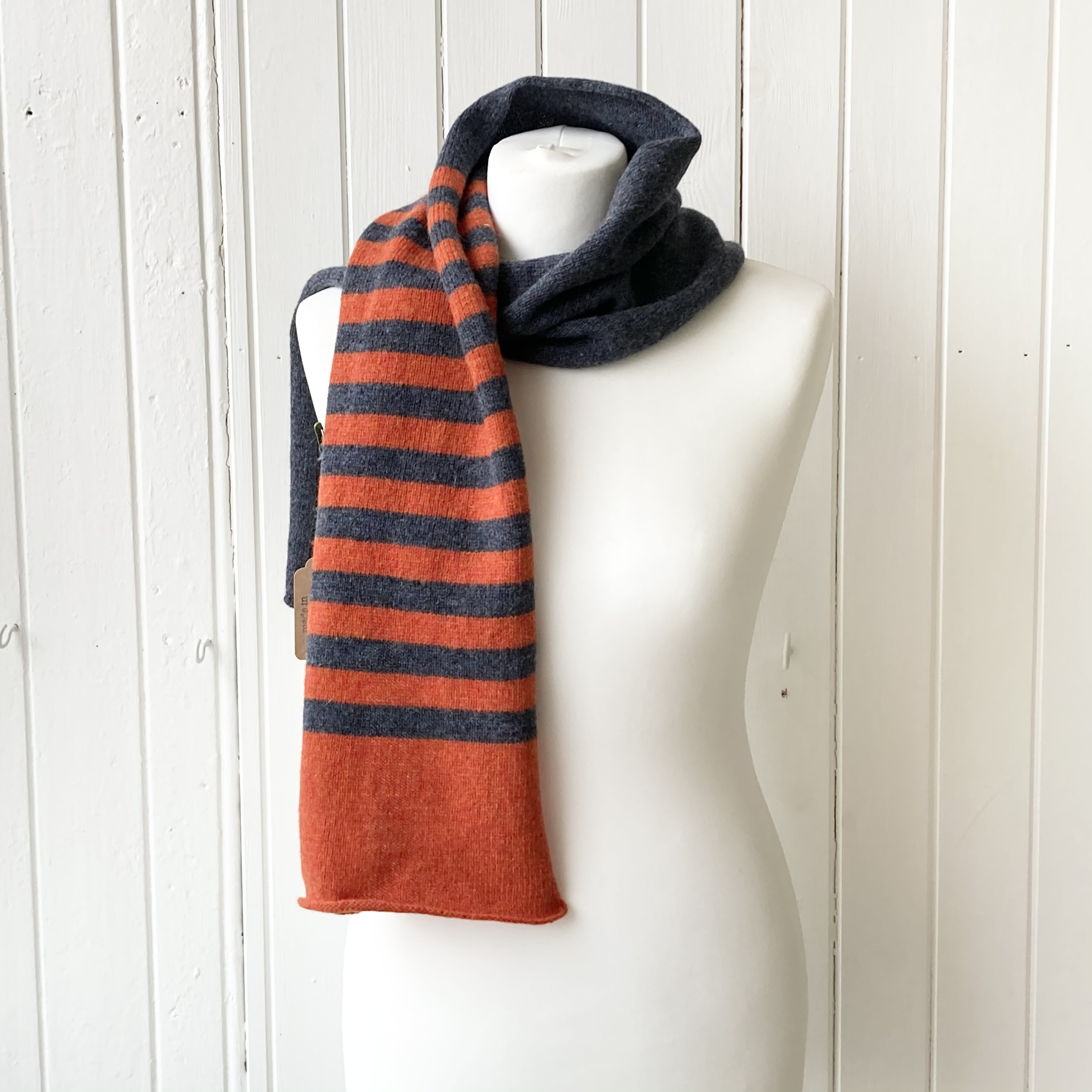 orange and dark blue striped scarf