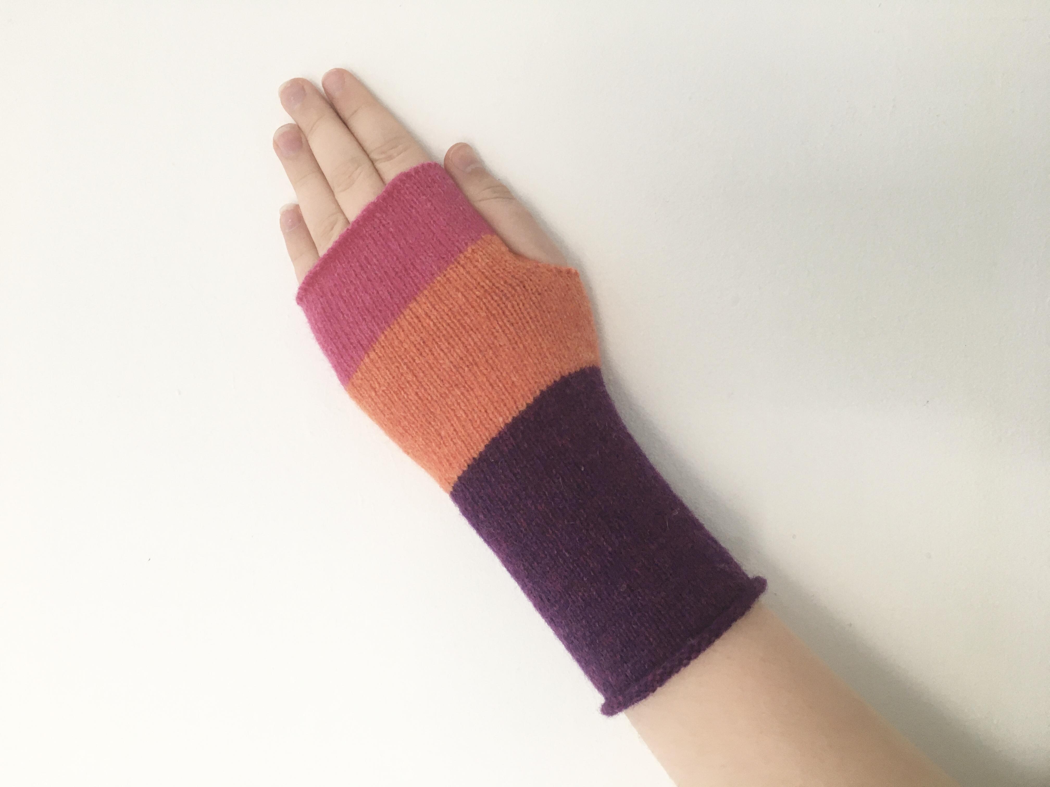 gloves - magenta, orange & purple