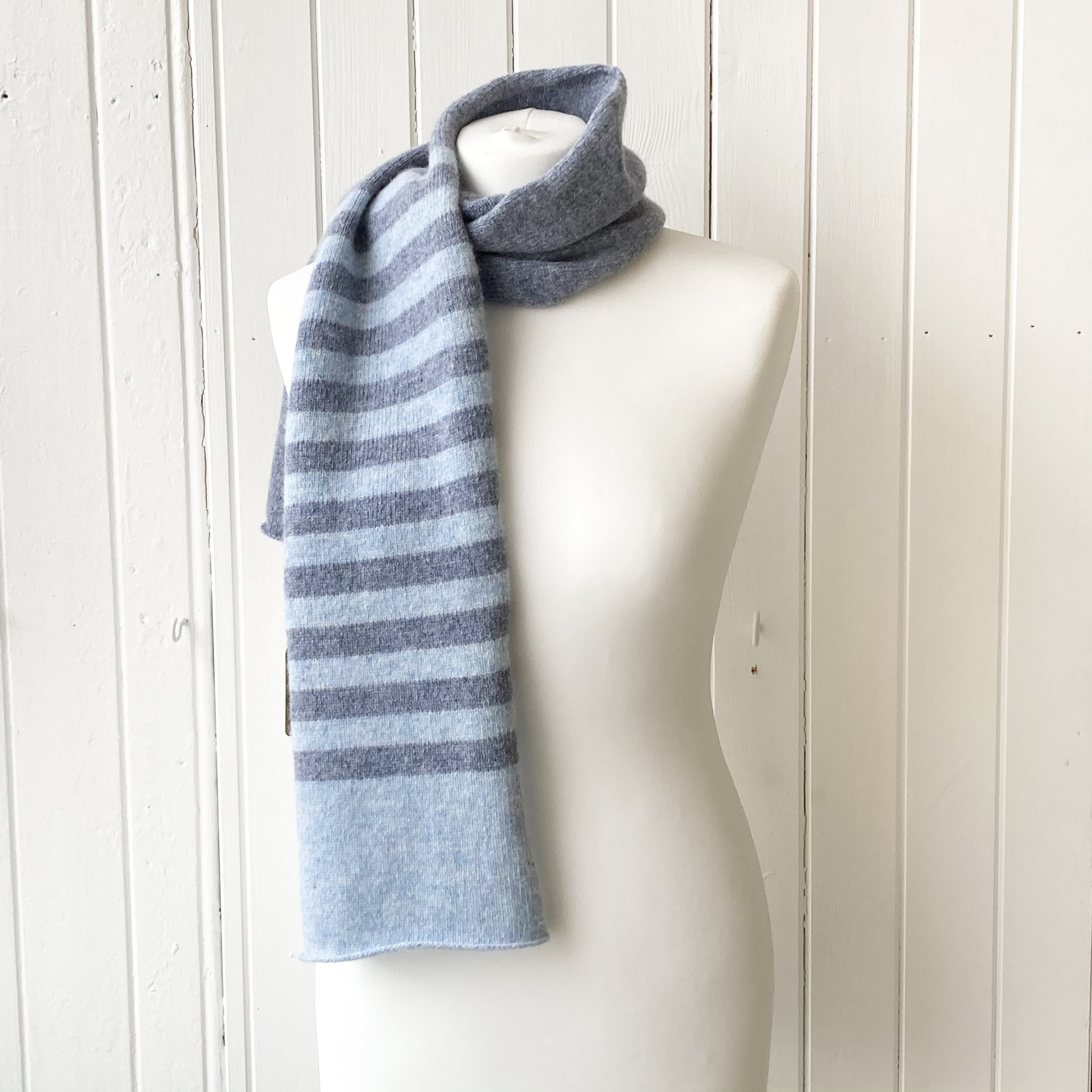 pale and mid blue striped scarf