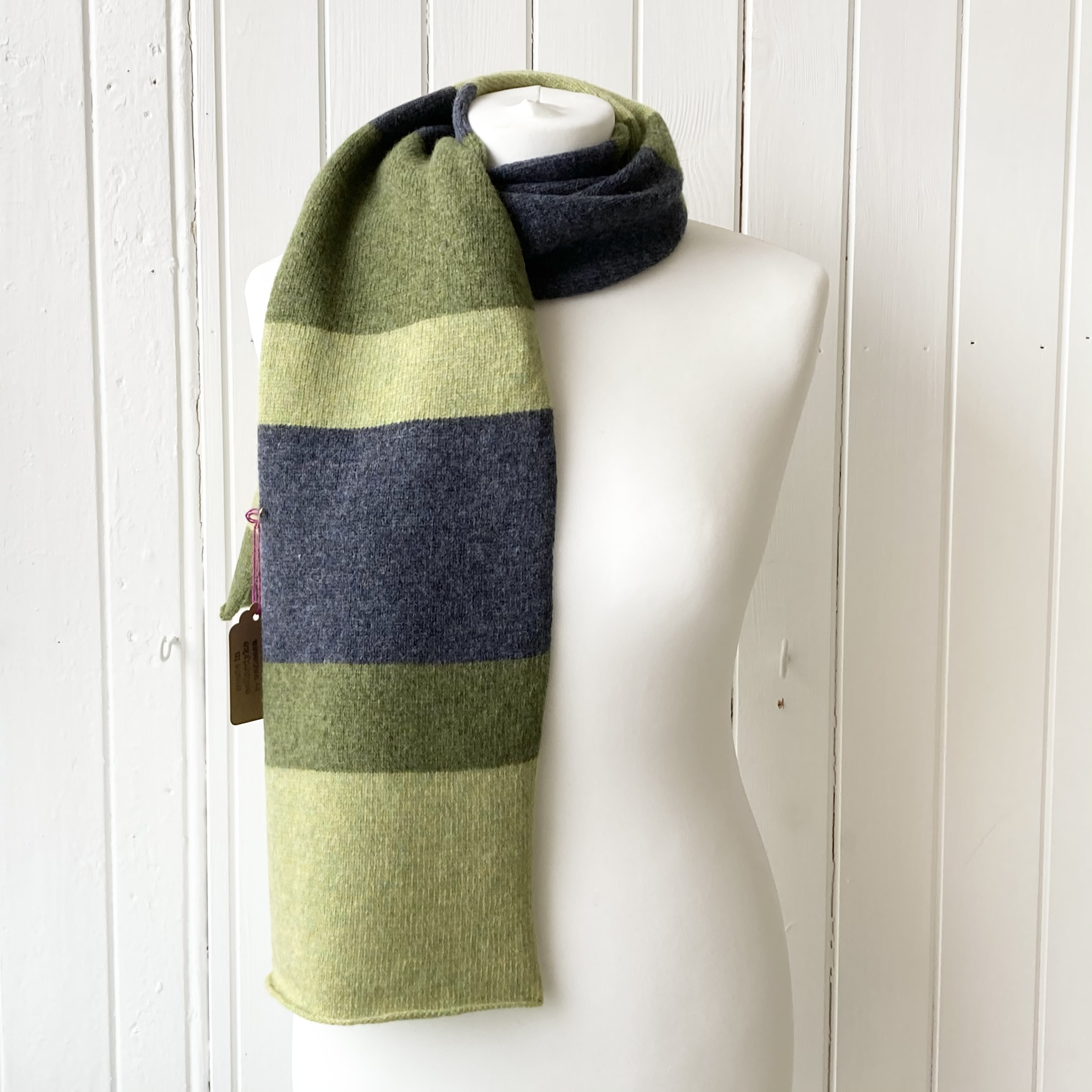 pale green, olive and dark blue scarf