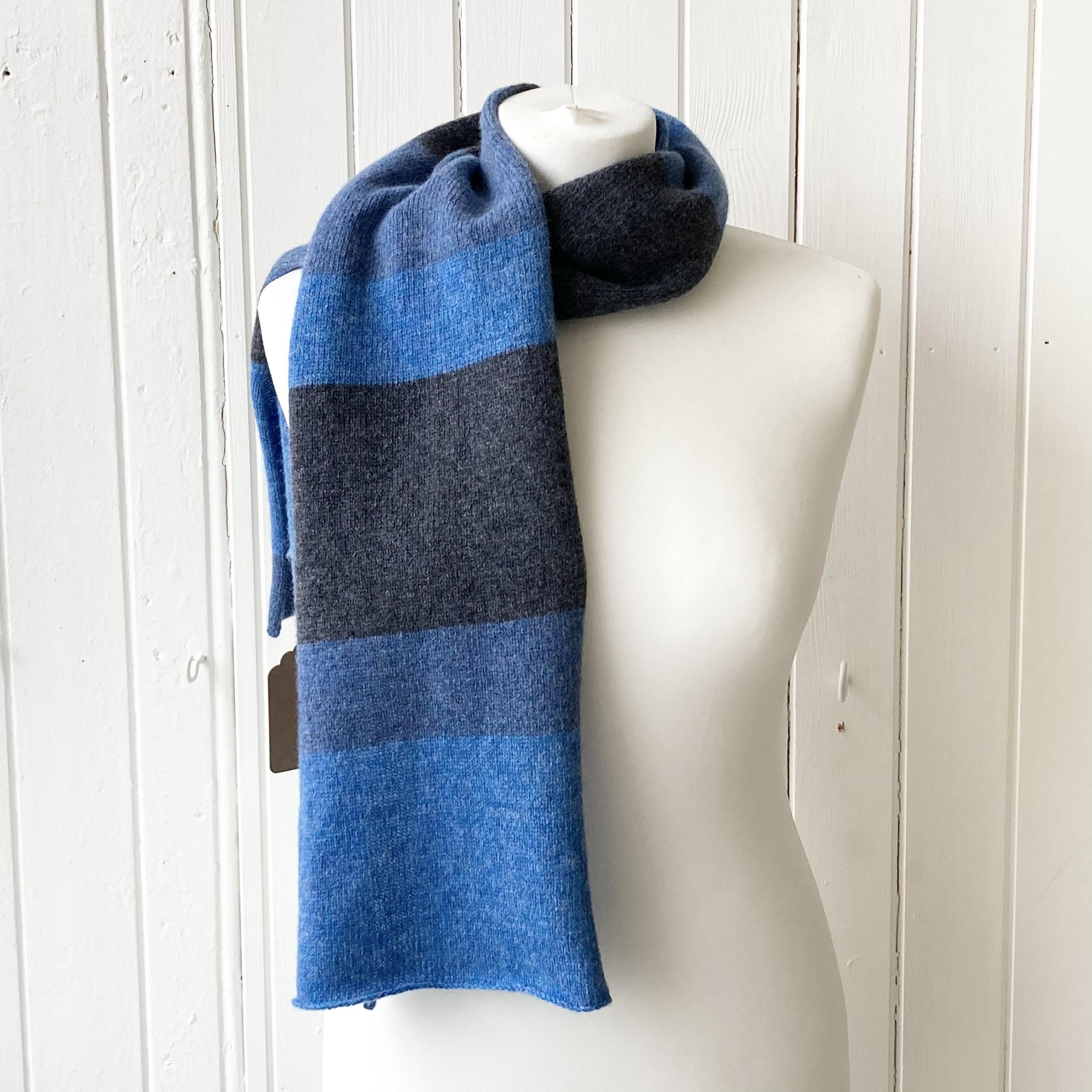 scarf - bright blue, mid blue & dark blue
