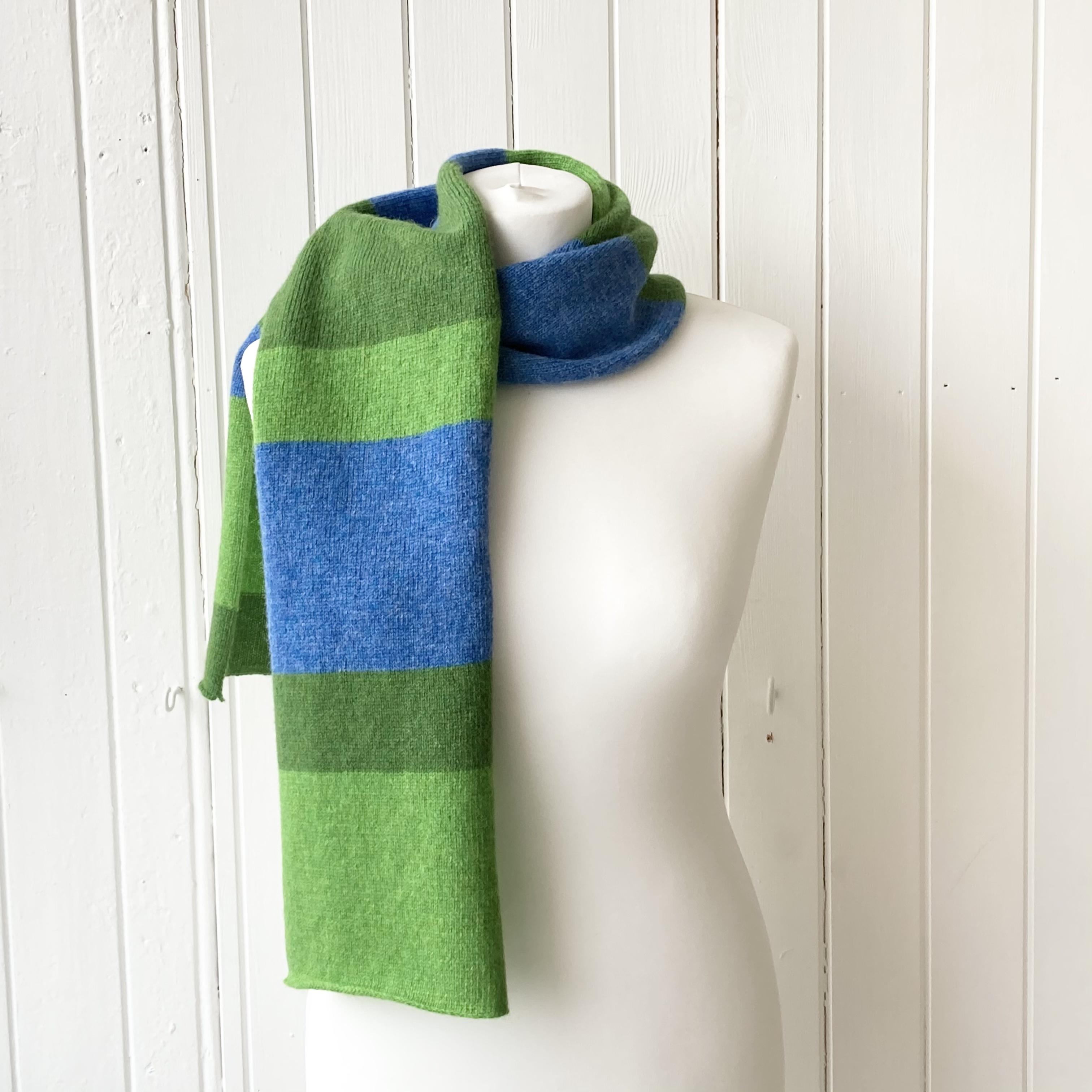 scarf - bright green, blue & green