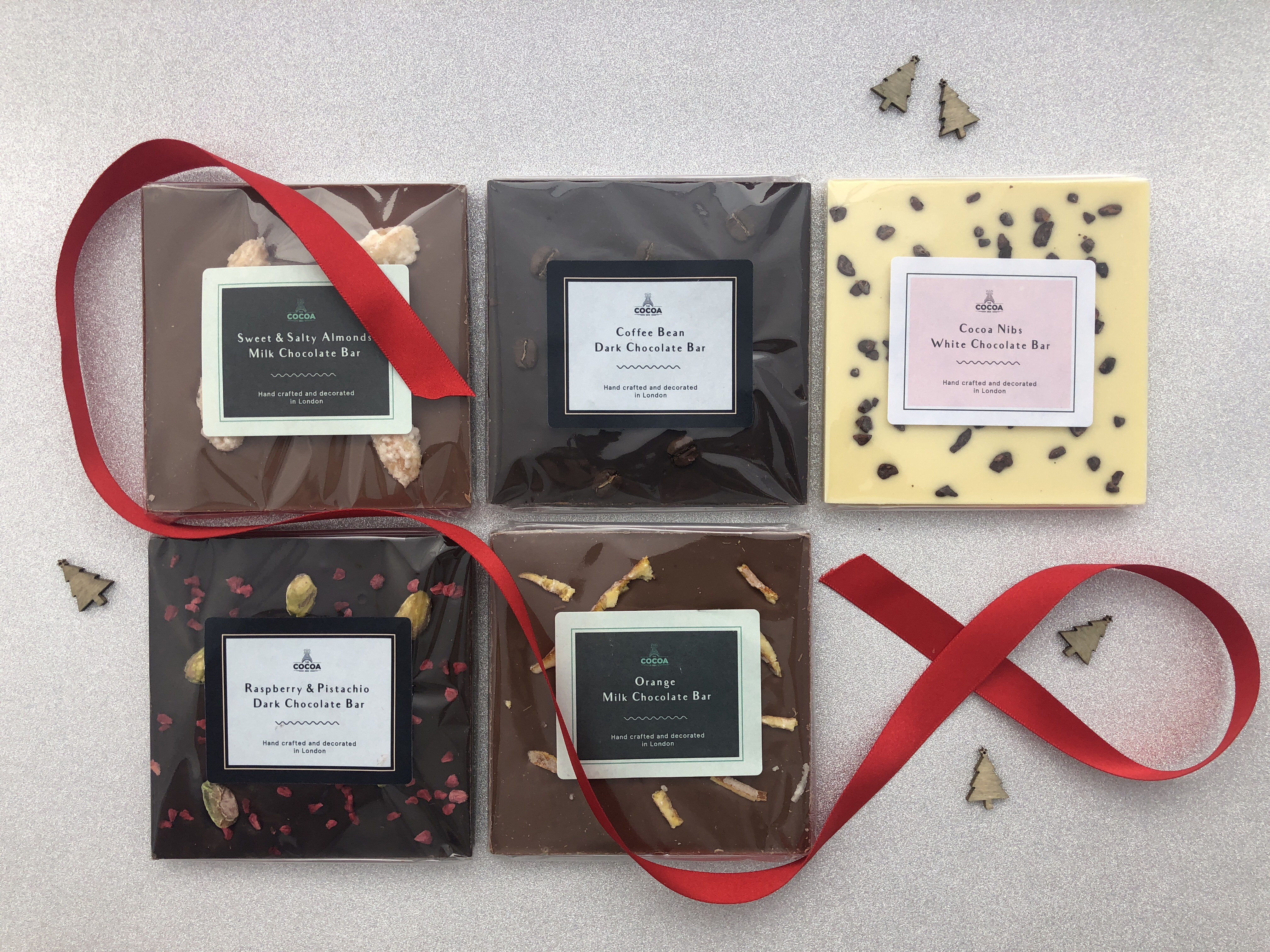 The Cocoa Den Stack Of 4 Mixed Flavour Chocolate Bars