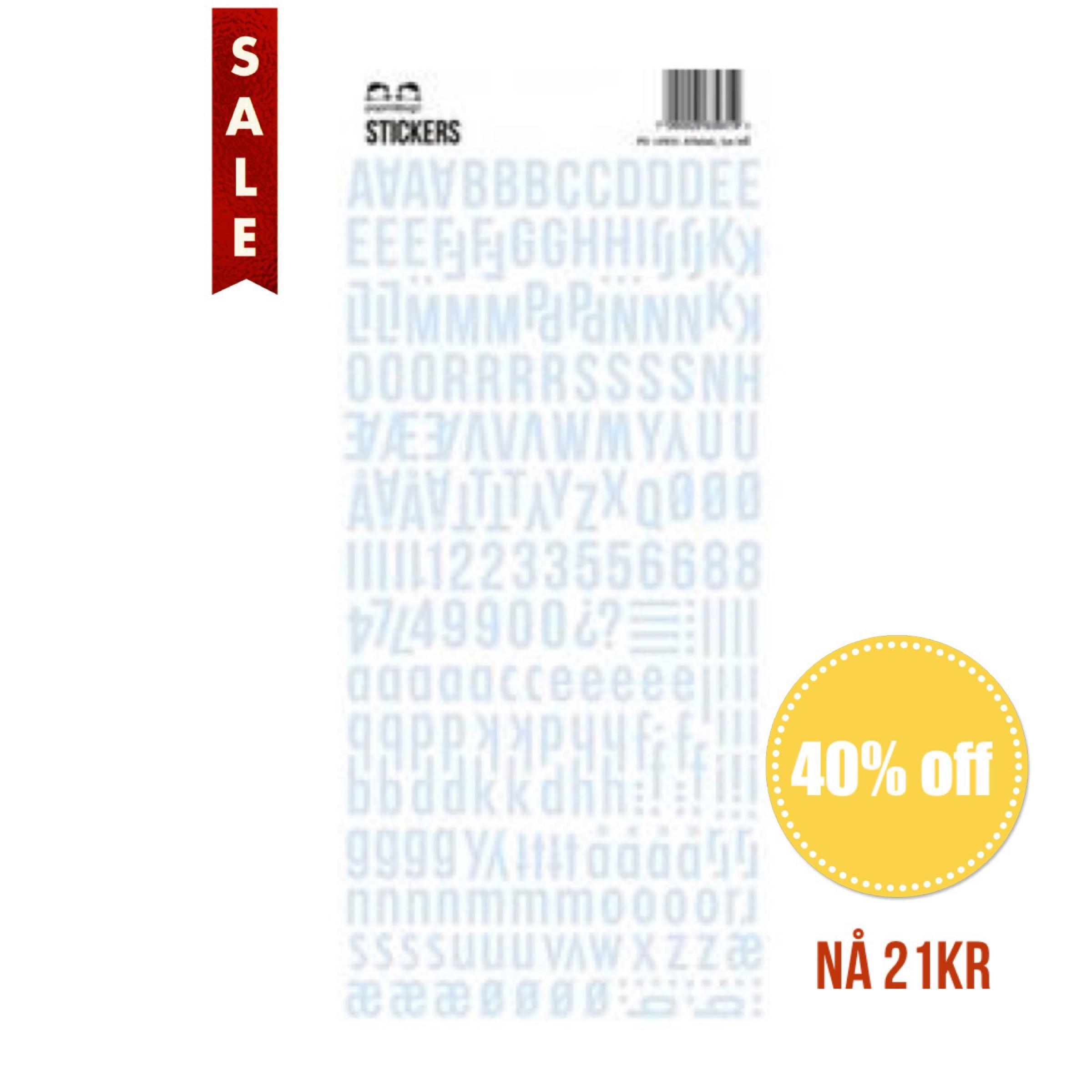 Papirdesign Alphabet Stickers / Klistremerker Alfabet - Lys Blå / Light Blue