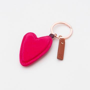 Caroline Gardner Pink velvet heart key ring
