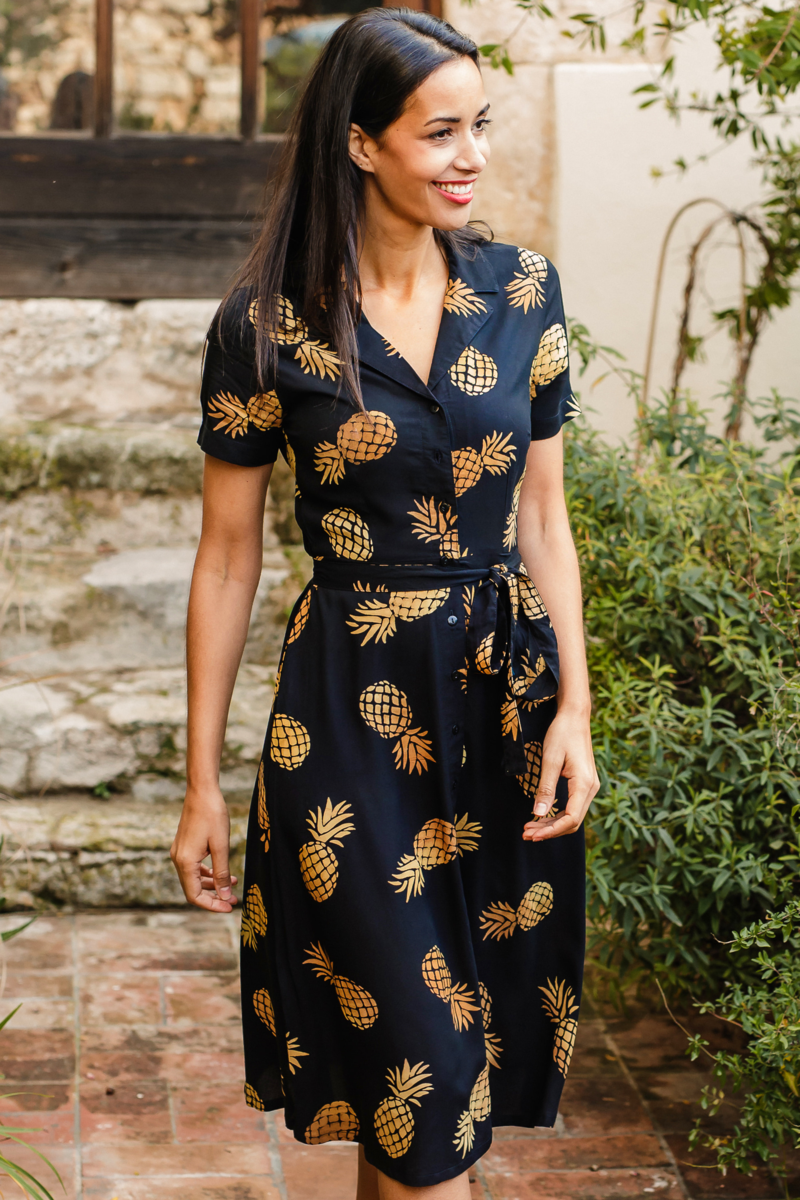 Sugarhill Pineapple batik shirt dress