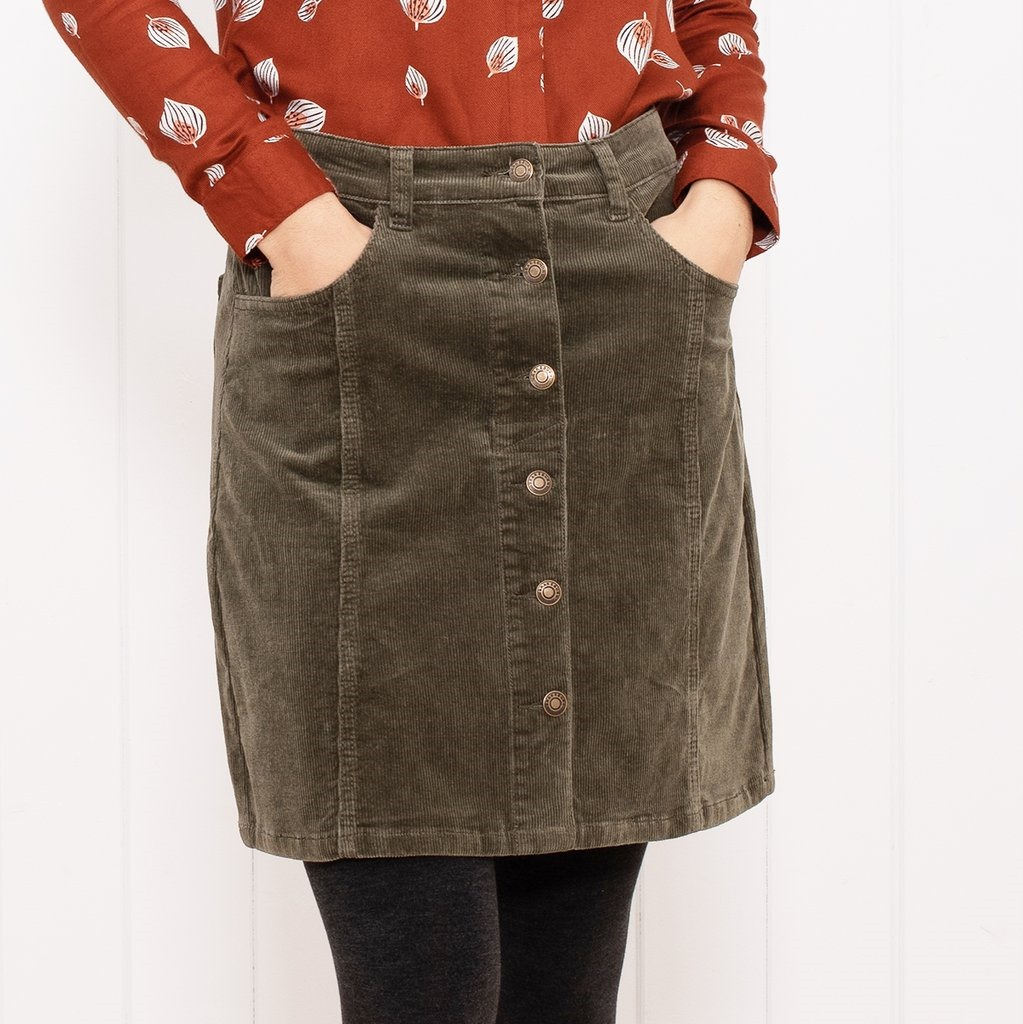 Brakeburn khaki cord button front skirt