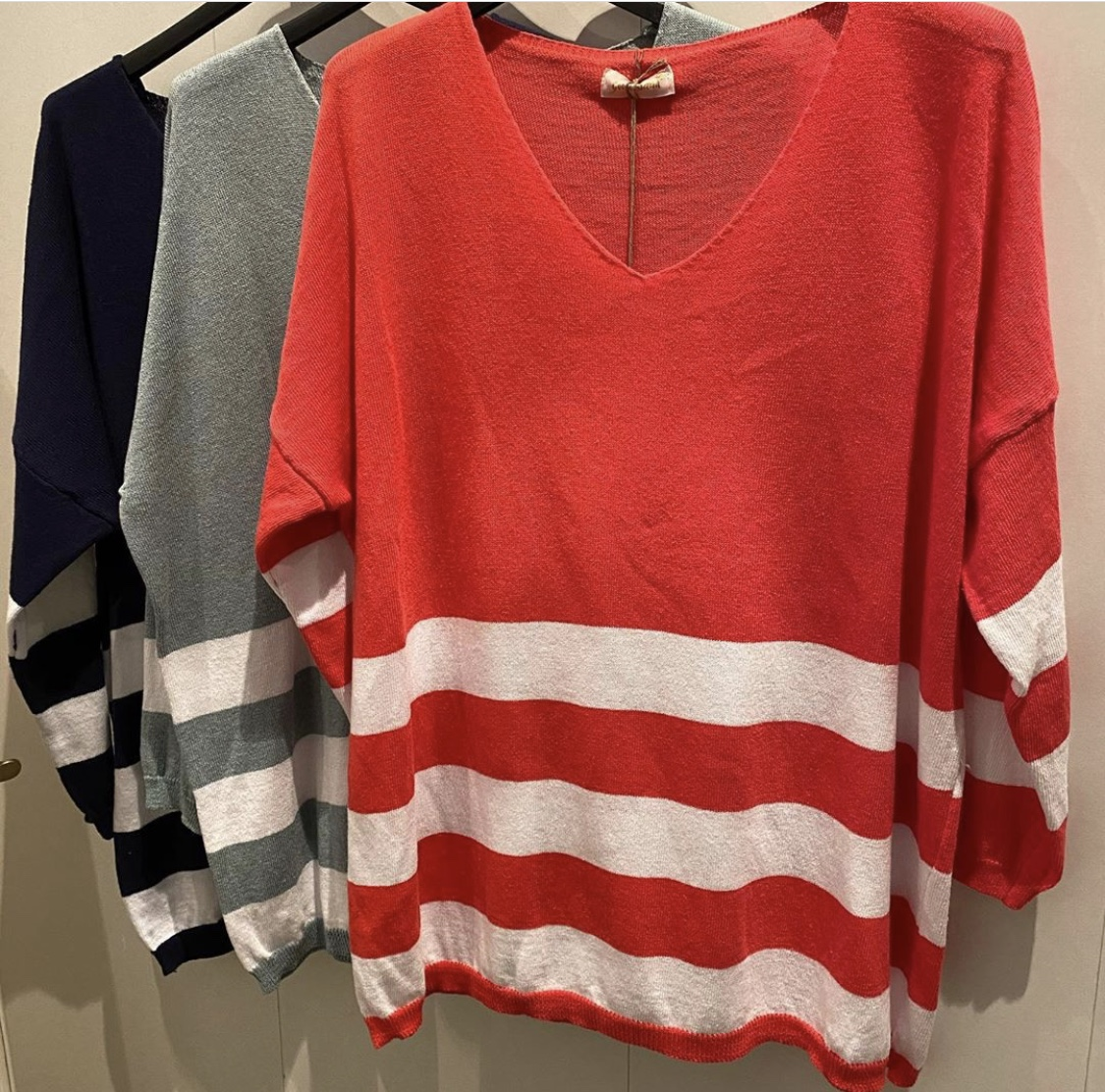 Goose Island V neck striped jumper