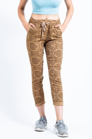 Damask print magic trousers