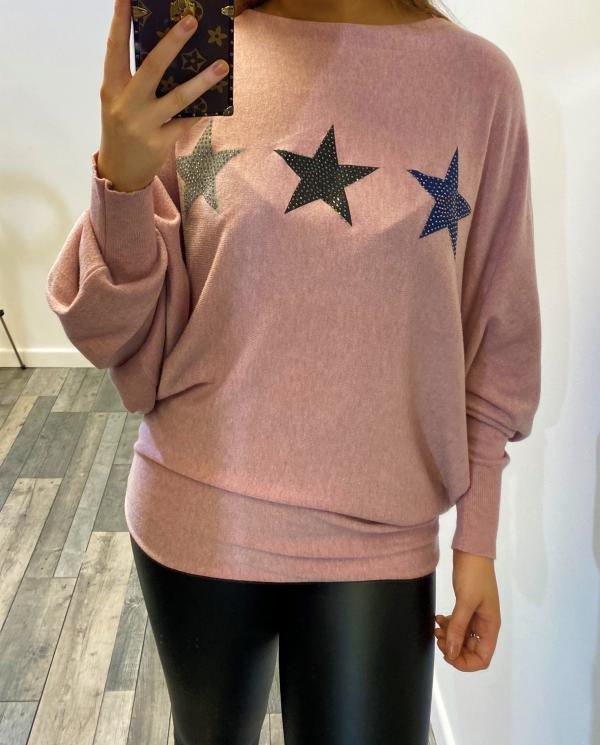 Embellished star batwing jumper