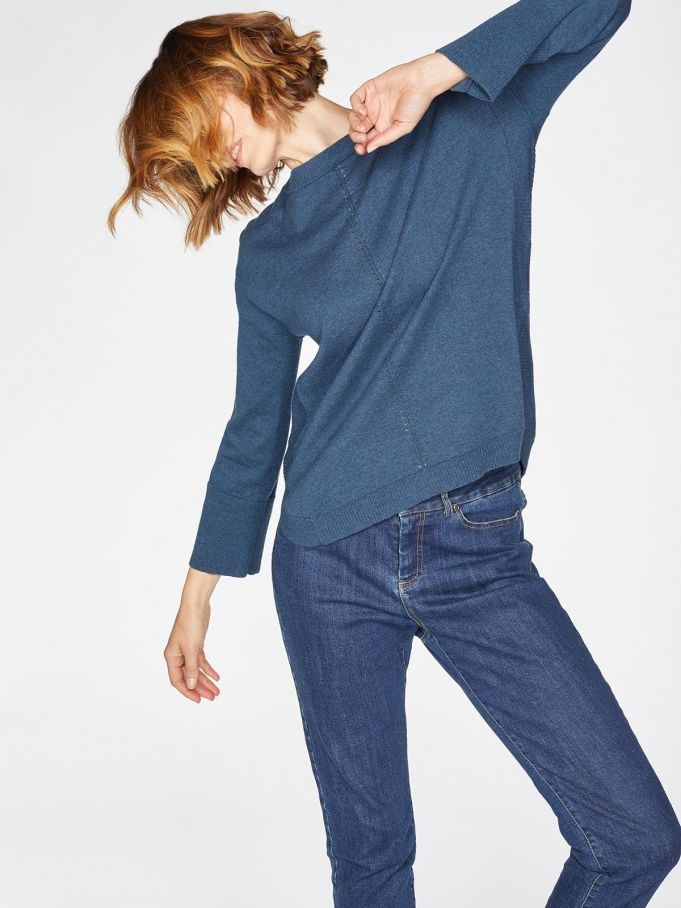 Curved hem organic cotton mix jumper