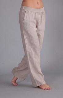 Stretch waist linen trousers