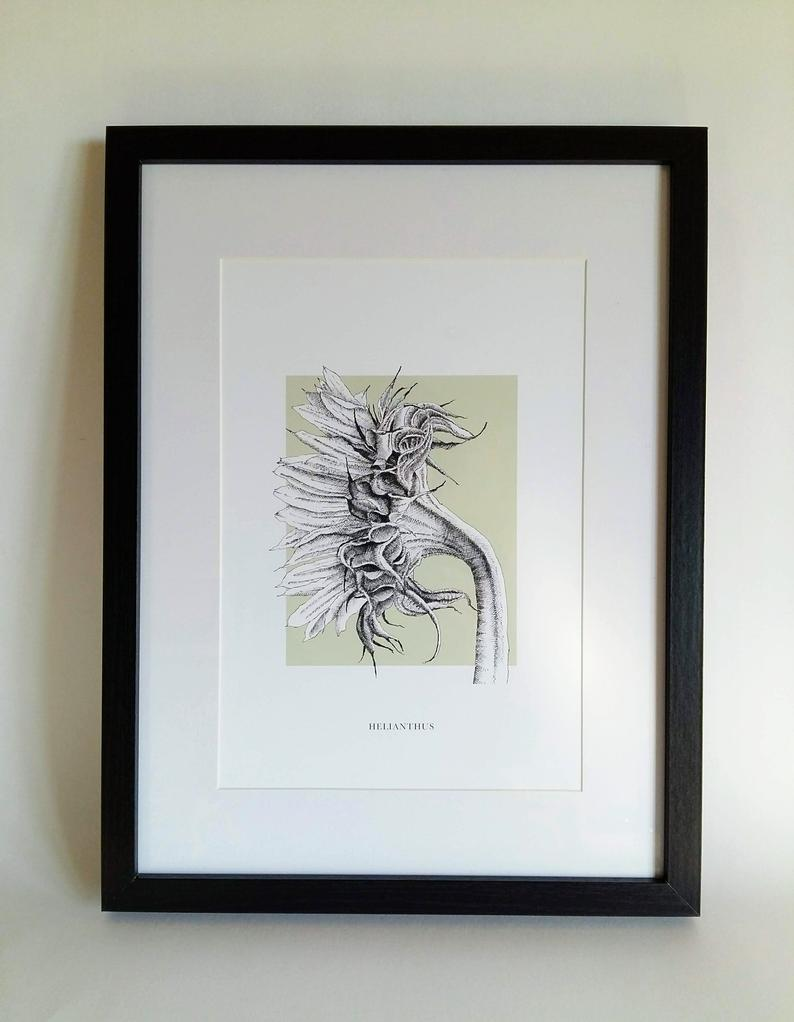 Framed sunflower print