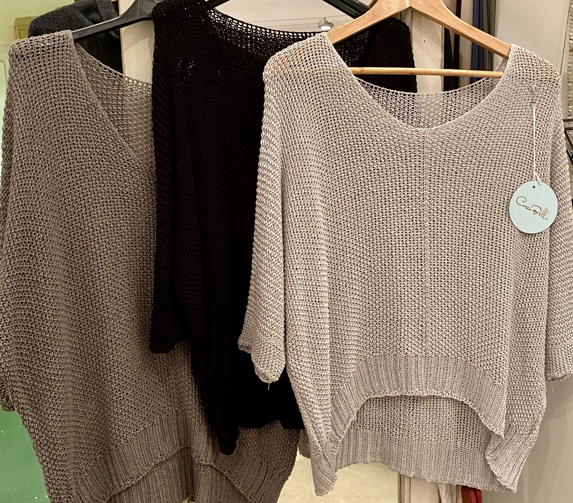Open knit v neck jumper