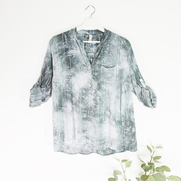 Tie dye aztec line print shirt