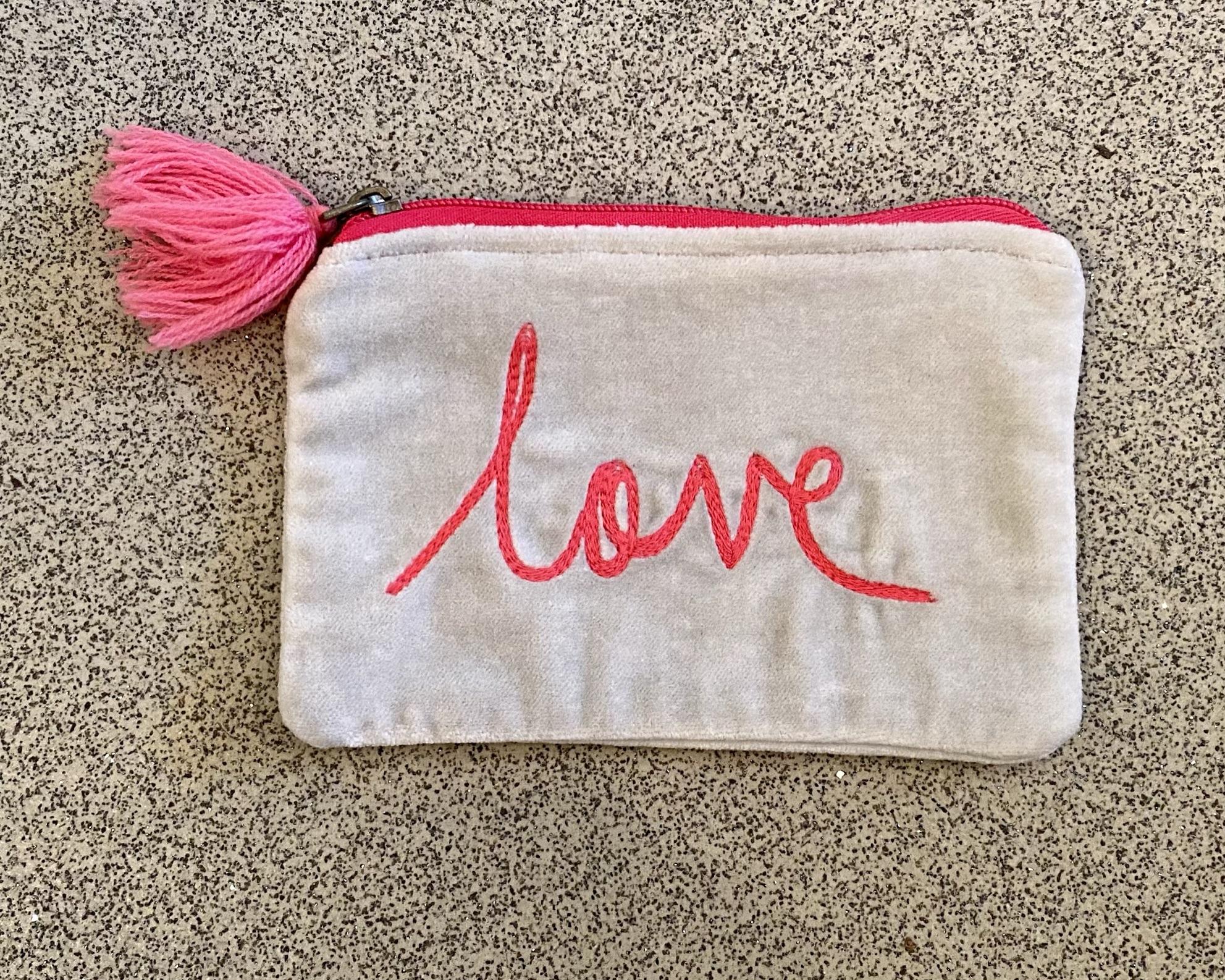 LOVE velvet pouch