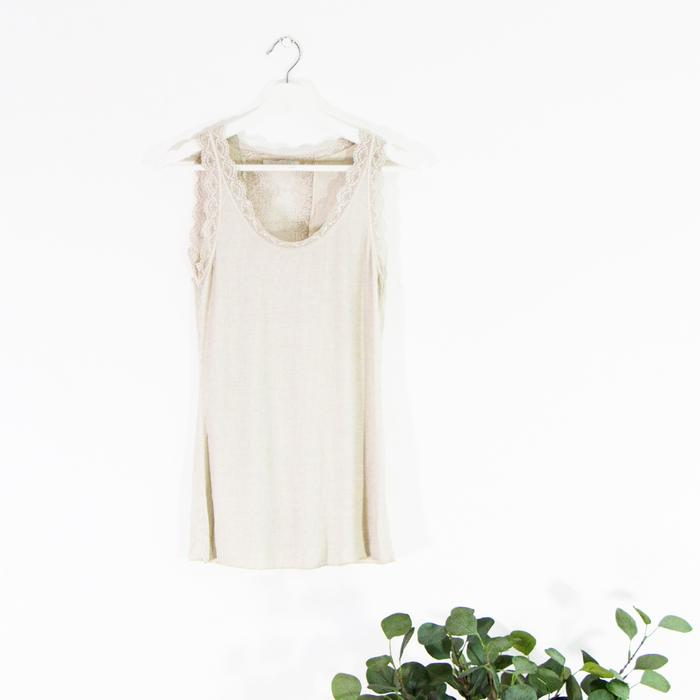 Ribbed vest with lace back detail