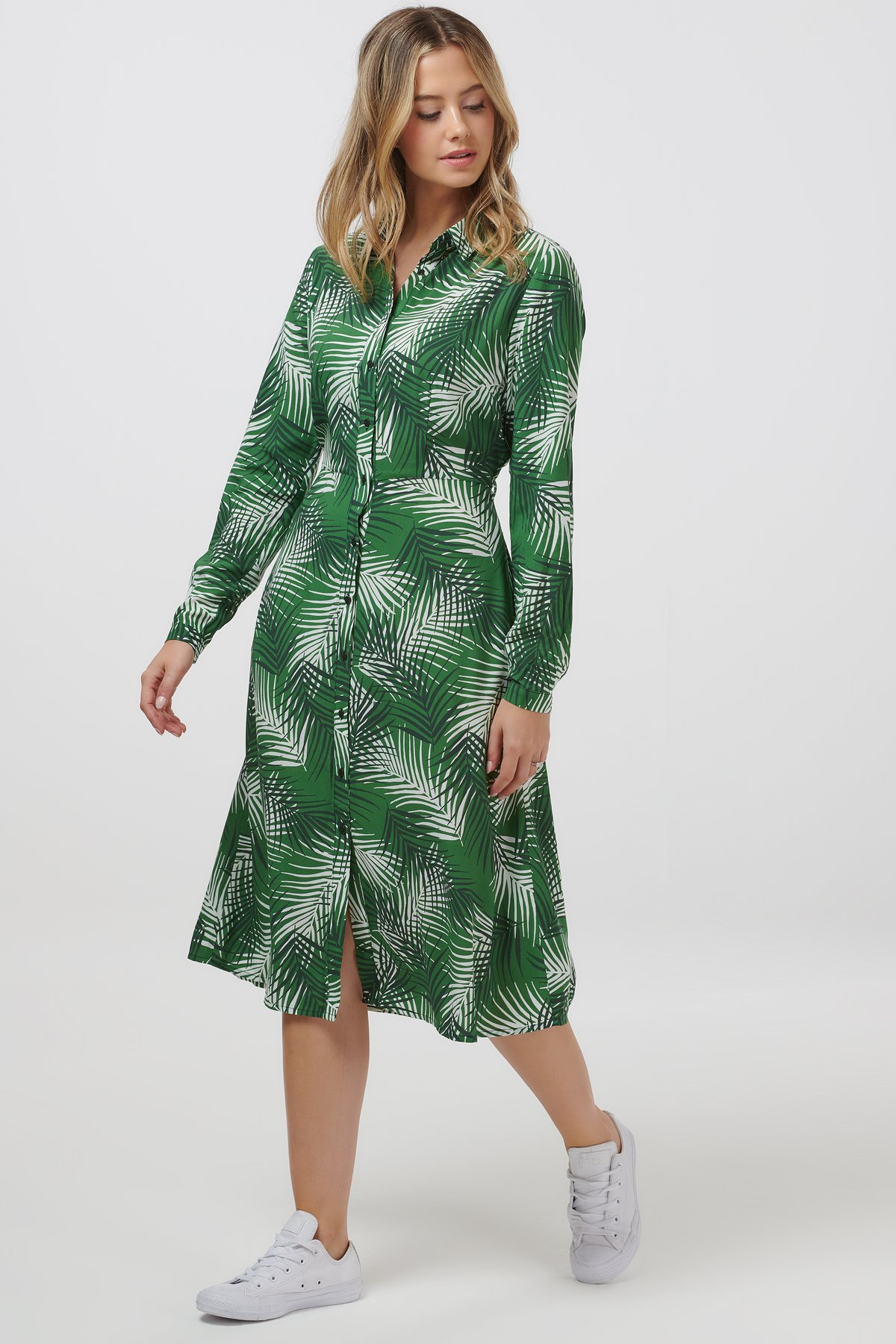 Sugarhill shady palm midi shirt dress