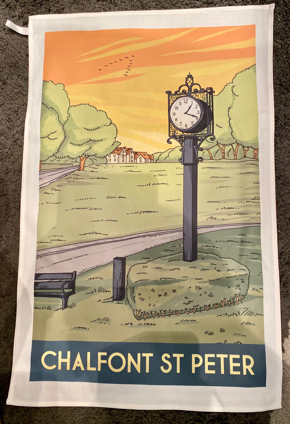 Chalfont St Peter vintage art tea towel