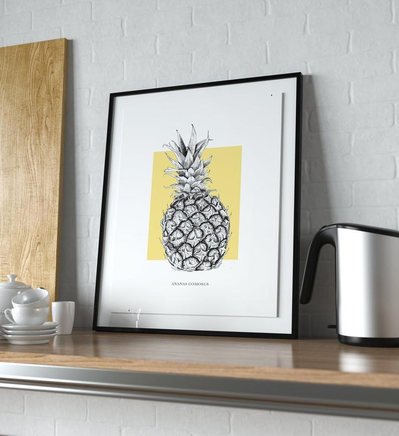Framed pineapple print