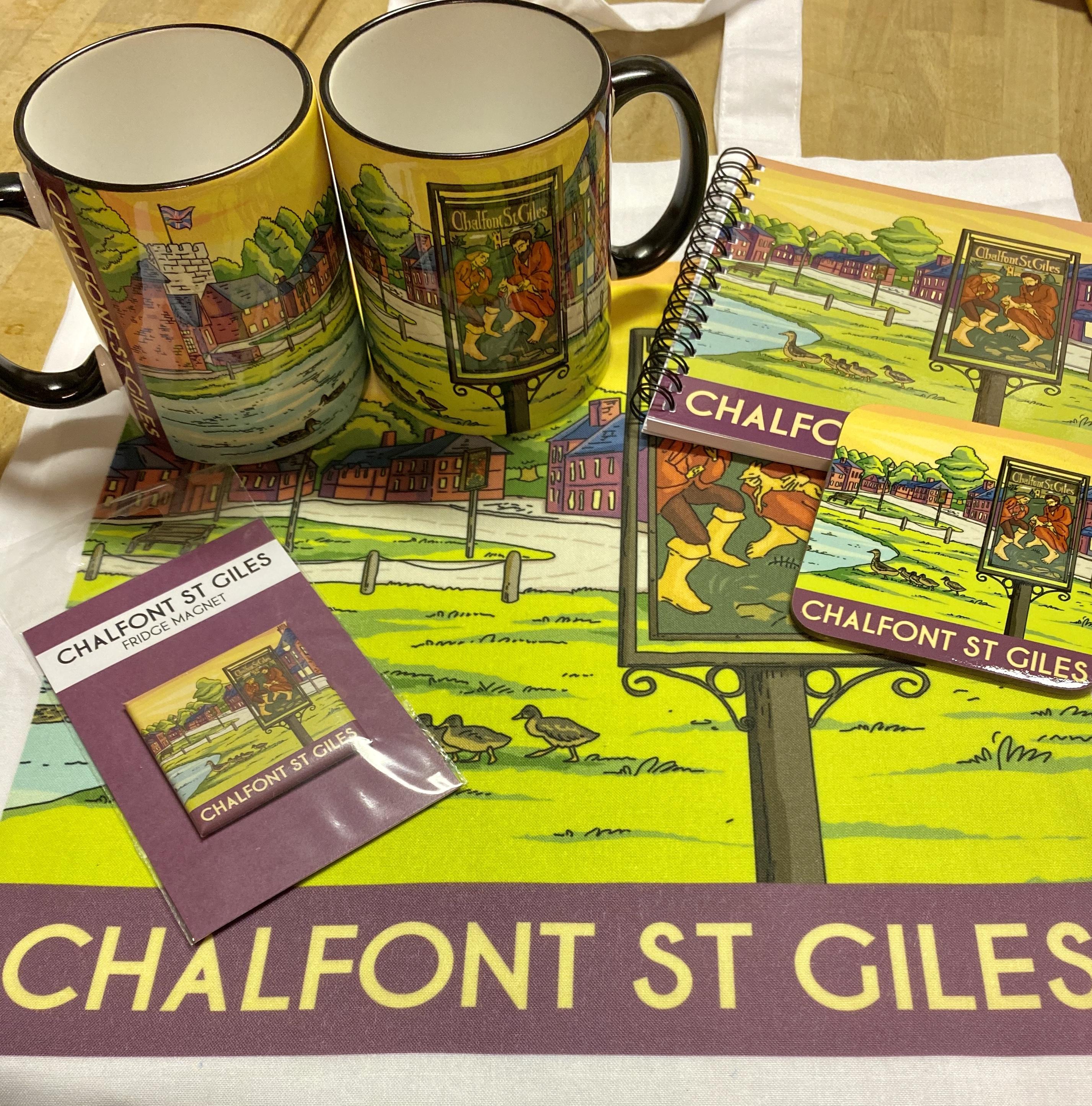 Chalfont St Giles vintage art tea towel