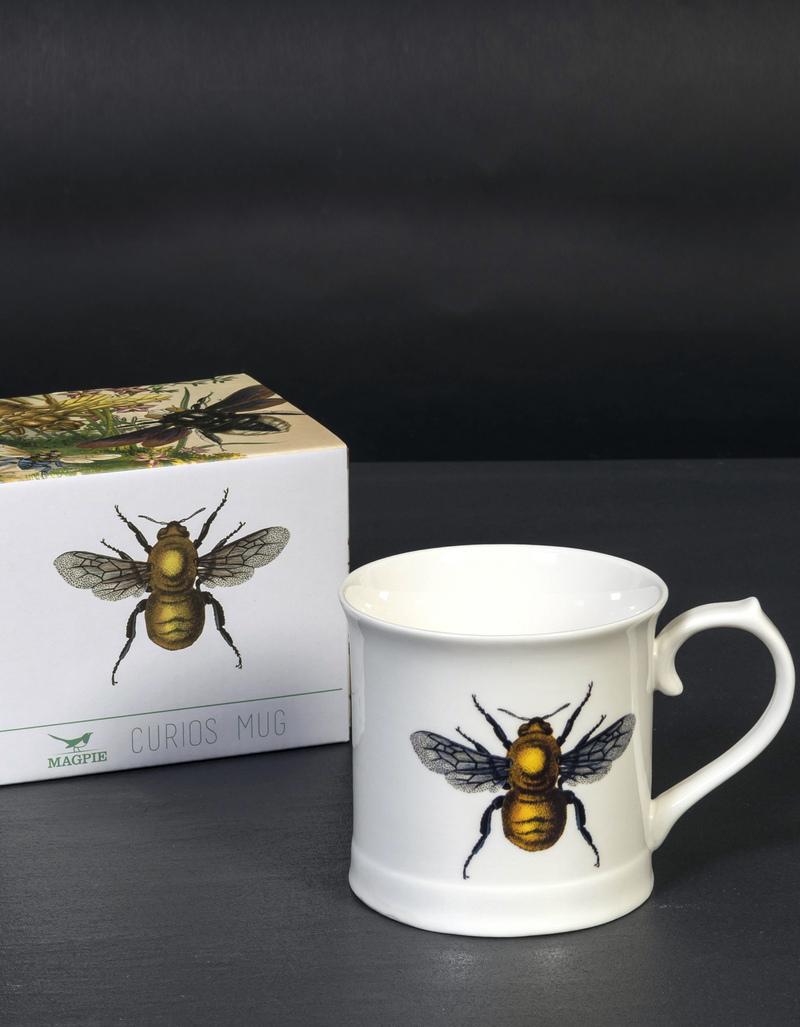 Vintage bee illustration mug