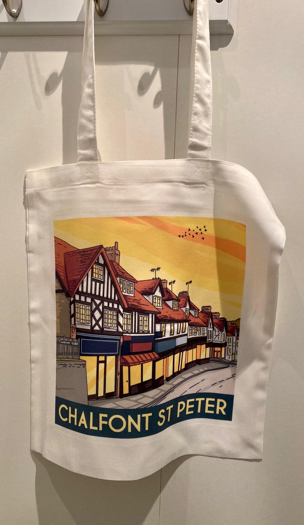 Chalfont St Peter vintage art print shopper