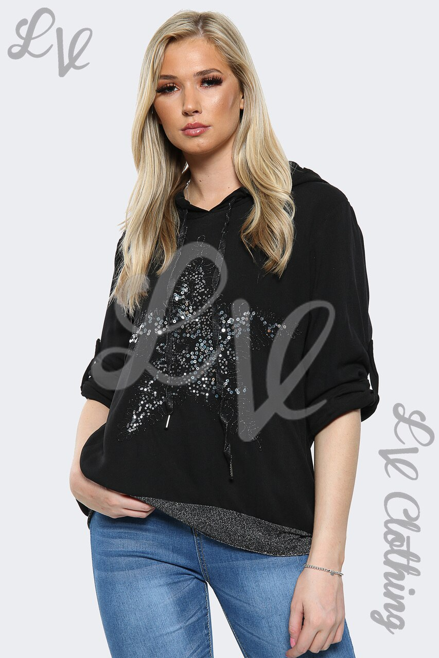 Sequin Star Hooded Top
